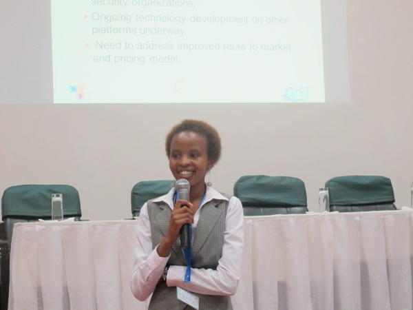 Catherine pitching at the GIST East Africa Startup Boot Camp in Tanzania.
