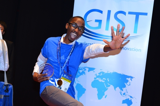 Alex Muriu in a superhero stance after the conclusion of GIST Tech-I 2013 competition in Kuala Lumpur, Malaysia.